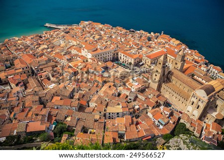 top view of Cefalu old town with its Duomo square, Sicily - stock photo