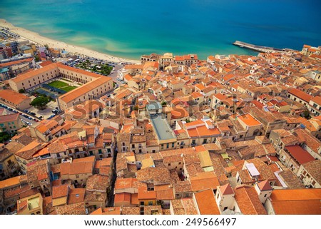 top view of Cefalu old town with its small residential houses, Sicily - stock photo