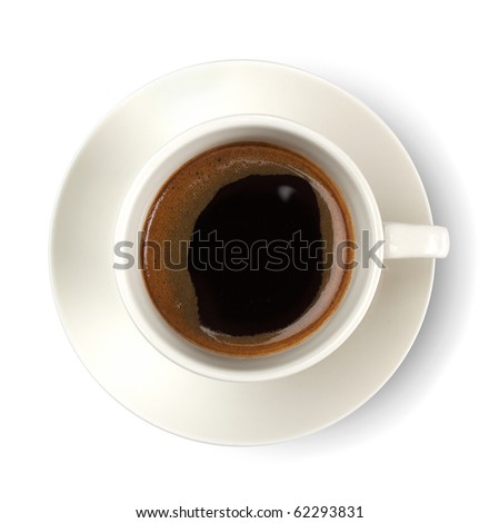 Top view of coffee cup isolated on white - stock photo