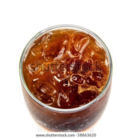 Top view of cola glass closeup on a white - stock photo