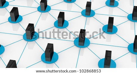 top view of computers connected each other; concept of network and of data exchange (3d render) - stock photo