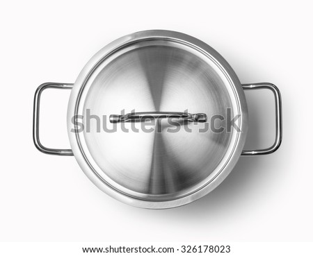 top view of cooking pan isolated on white background with clipping path - stock photo