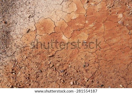 Top view of cracked and barren ground. - stock photo