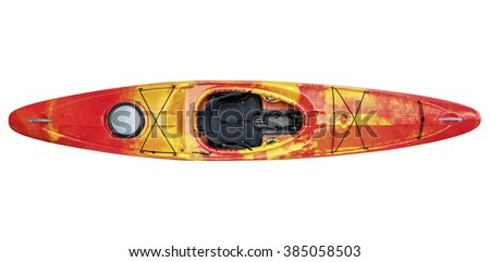 top view of crossover kayak (whitewater and river running kayak) isolated with a clipping path - stock photo