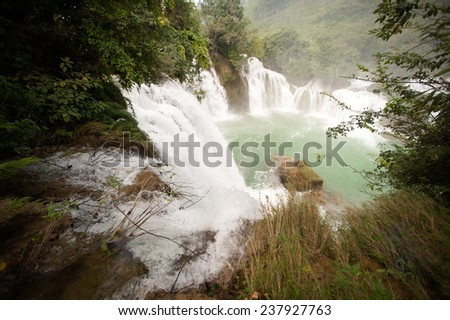 Top view of Datian waterfall .Located in Shuolong Town of  Daxin County, Guangxi Zhuang Autonomous Region,China was 4th World largest country bounderies waterfall - stock photo