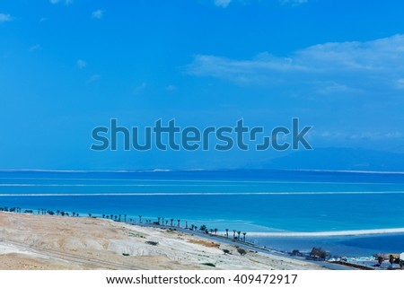 Top view of Dead Sea coastline in summer day - stock photo
