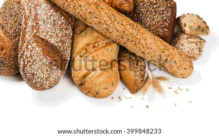 Top view of different cereal bread with ears isolated on a white background. - stock photo