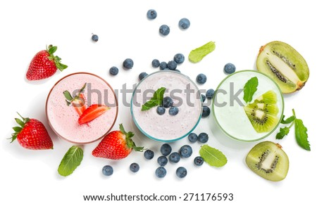 Top view of different smoothies of berry isolated on white background.   - stock photo