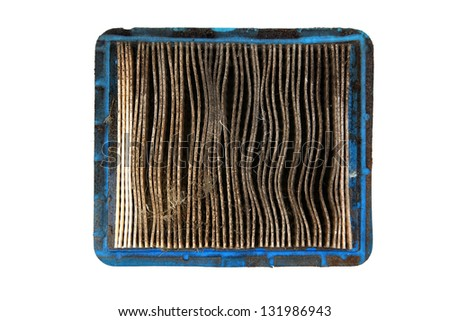 Top View Of Dirty Air Filter Isolated On White Background - stock photo