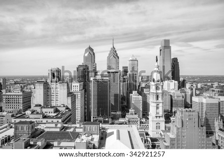 Top view of downtown skyline Philadelphia USA - stock photo