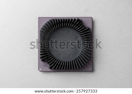 top view of early Central Processing Unit (CPU) with heatsink - stock photo