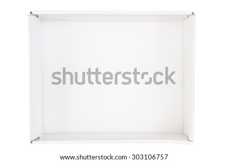 Top view of empty cardboard box isolated on white background - stock photo