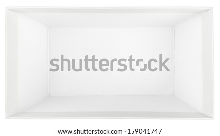 Top view of empty shoe box isolated on white with clipping path - stock photo