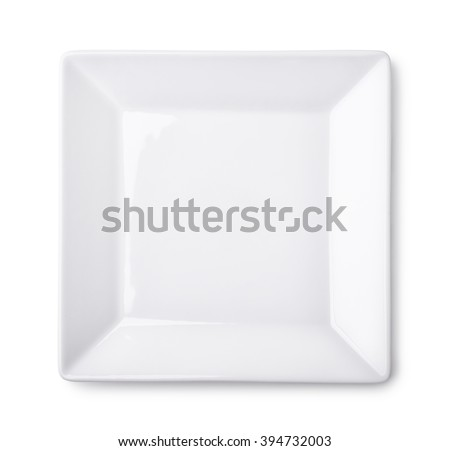 Top view of empty square plate isolated on white - stock photo