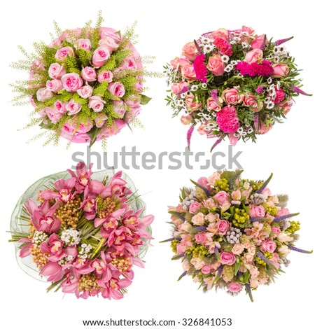 Top view of four colorful flower bouquets. - stock photo