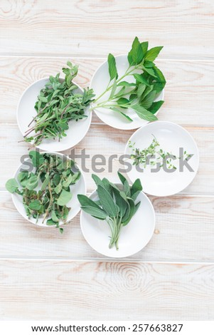 Top view of fresh green herb on wood background - stock photo