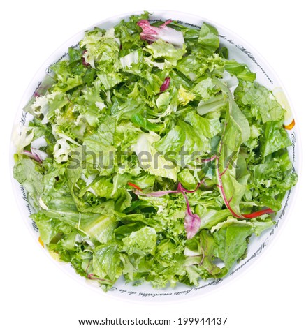 top view of fresh italian lettuce mix in bowl isolated on white background - stock photo