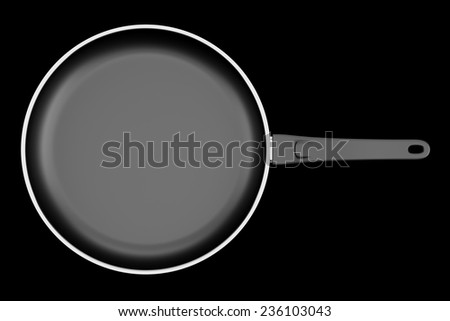 top view of fryer pan isolated on black background - stock photo