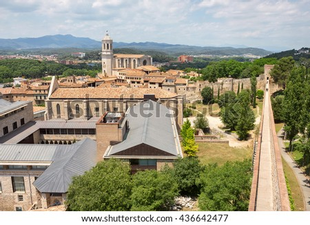 Top view of Girona city from medieval wall. Catalonia, Spain   - stock photo