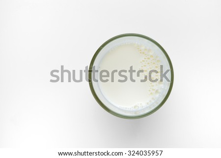 top view of glass milk on white background - stock photo