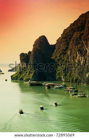 Top view of Halong Bay Vietnam - stock photo