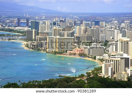Top view of Honolulu Waikiki Beach - stock photo