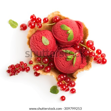 Top view of ice cream of red currant  in a wafer bowl and fresh berry isolated on white background - stock photo