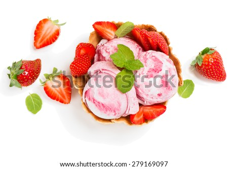 Top view of ice cream of strawberry in a wafer bowl  and fresh berry  isolated on white background - stock photo