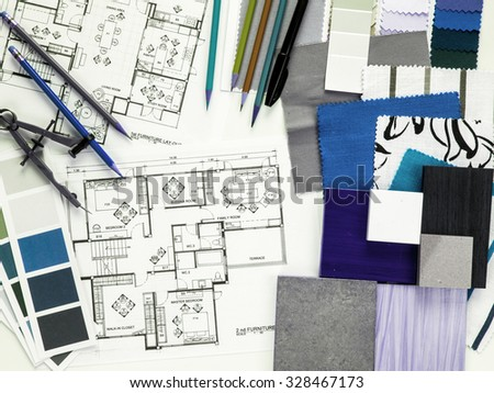 Top view of Interior designer& architect working as home decoration and renovation concept - stock photo