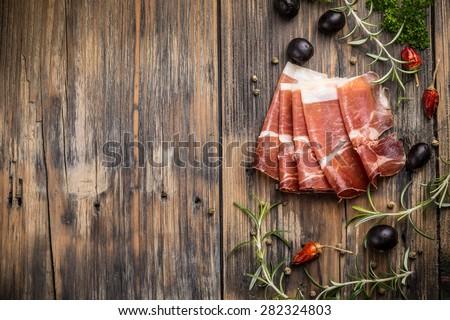 Top view of italian prosciutto  - stock photo