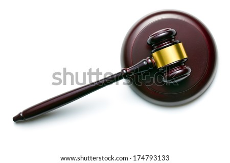 top view of judge gavel on white background - stock photo
