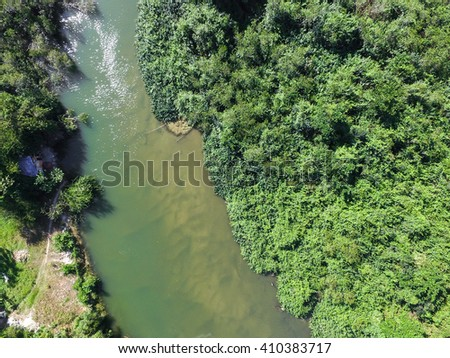 Top View of Lake - stock photo