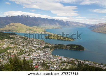 Top view of Lake Wakatipu, Queenstown from The Skyline Queenstown - stock photo
