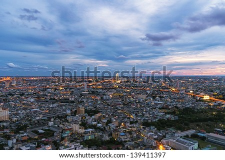 Top view of mid town in Bangkok - stock photo