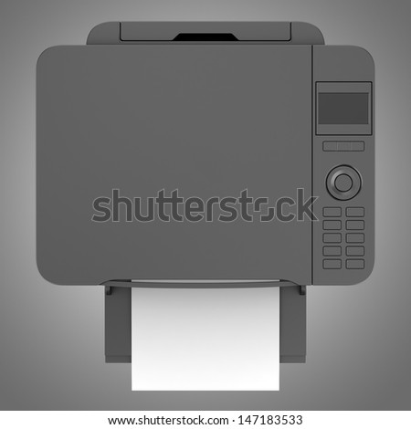 top view of modern black office multifunction printer isolated on gray background - stock photo
