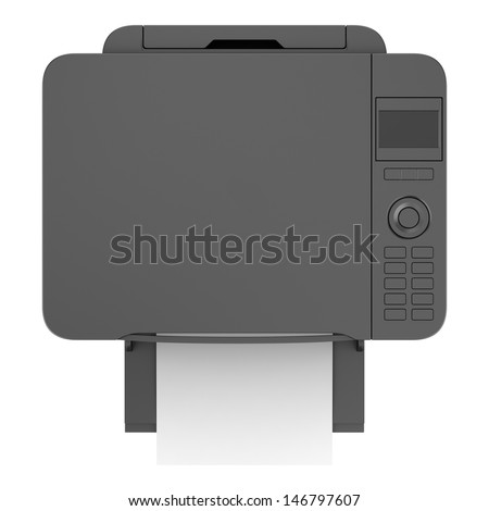 top view of modern black office multifunction printer isolated on white background - stock photo
