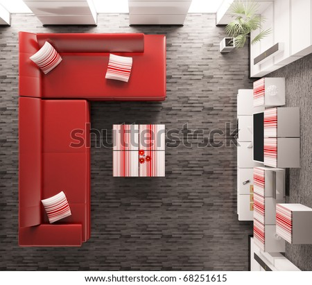 Top view of modern living room interior 3d render - stock photo