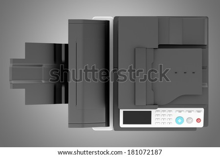 top view of modern office multifunction printer isolated on gray background - stock photo