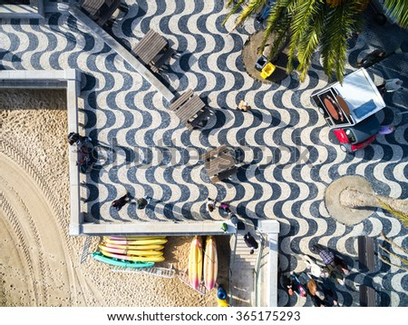 Top View of Mosaic and Beach, Cascais, Portugal - stock photo