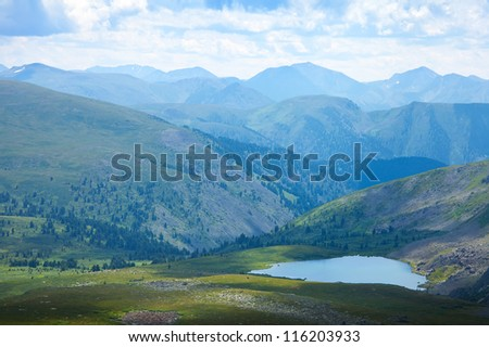 Top view of mountains lakes.   Altai, Suberia - stock photo