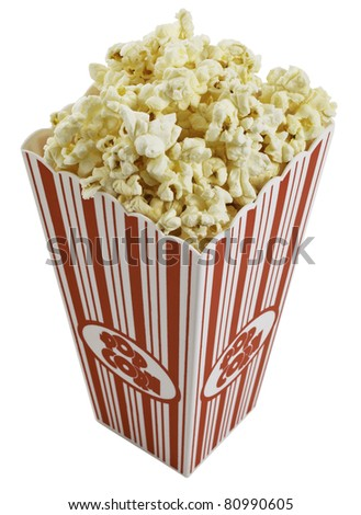 Top view of movie style popcorn box isolated on white background. - stock photo