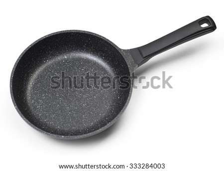 Top view of new empty frying pan isolated on white with clipping path - stock photo