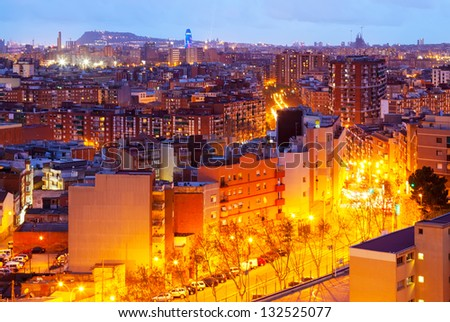 top view of night city. Barcelona, Spain - stock photo