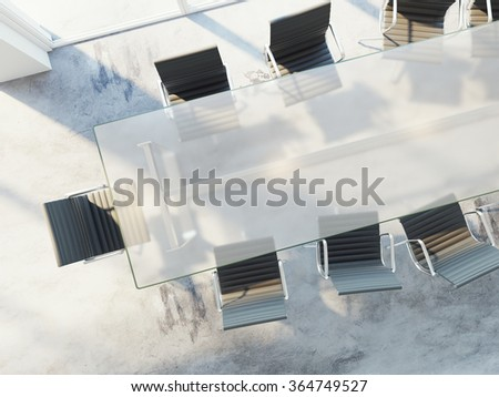 Top view of office table with chairs, conference room, advertising agency, white banner on table. 3d rendering - stock photo