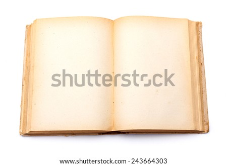 Top view of old book with empty yellowed pages - stock photo