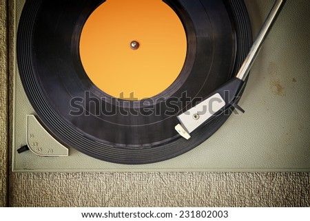 top view of old record player, image is retro filtered  - stock photo