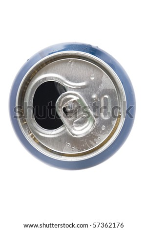 top view of open aluminum can on white background - stock photo