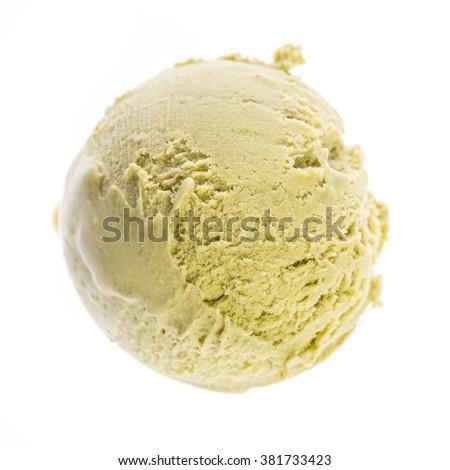 top view of pistachio ice cream scoop - stock photo