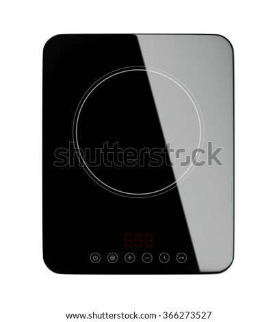 Top view of portable induction cooktop, isolated on white background - stock photo