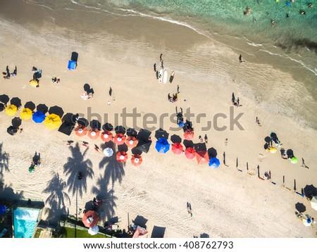 Top View of Porto de Galinhas Beach, Pernambuco, Brazil - stock photo
